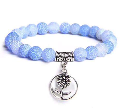 BLUE AGATE BEADS BRACELET WITH CHARM