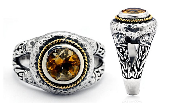 SILVER AND GOLD CITRINE RING