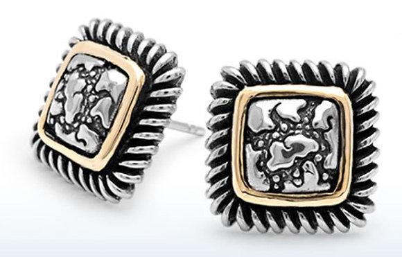 Plaster Texture Square Earrings
