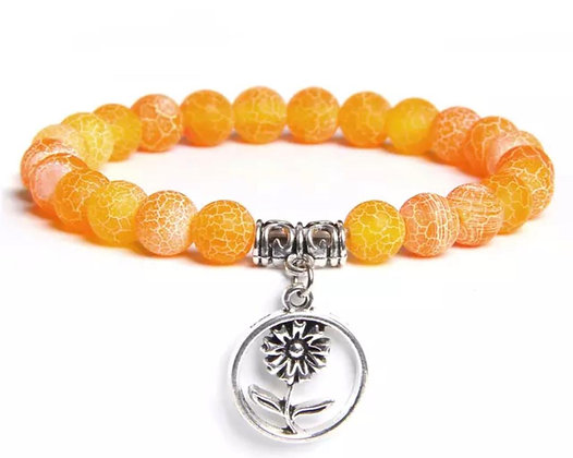 YELLOW AGATE BEADS BRACELET WITH CHARM