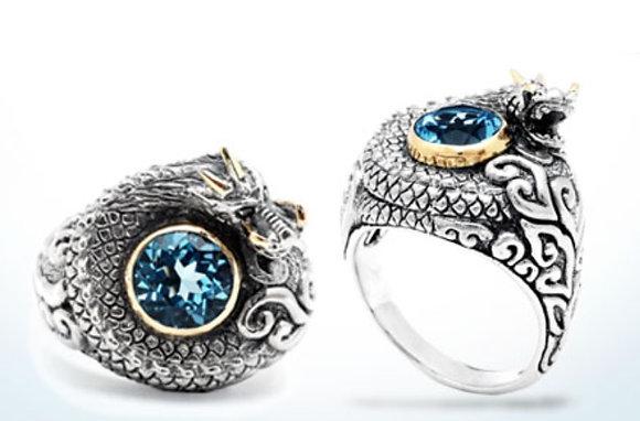 Dragon Ring Blue Topaz  Mega Mendung Ring