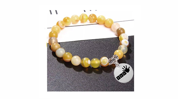 YELLOW STRIPE AGATE BEADS BRACELET