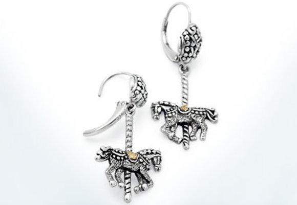 Horse Carousel Dangle Earrings