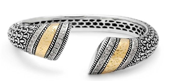 Silver/Gold Hinged Cuff-White Topaz