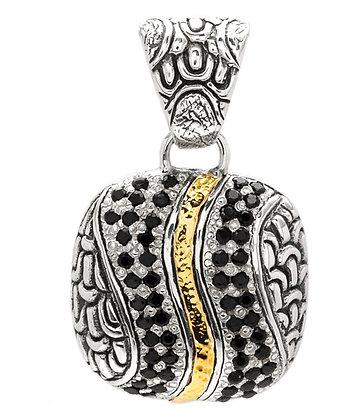 Silver/Gold Black Sapphire Pendant