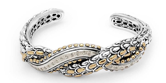 Silver/Gold Dragon Scales Hinged Cuff
