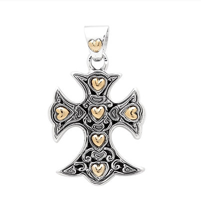 SILVER AND GOLD CROSS PENDANT