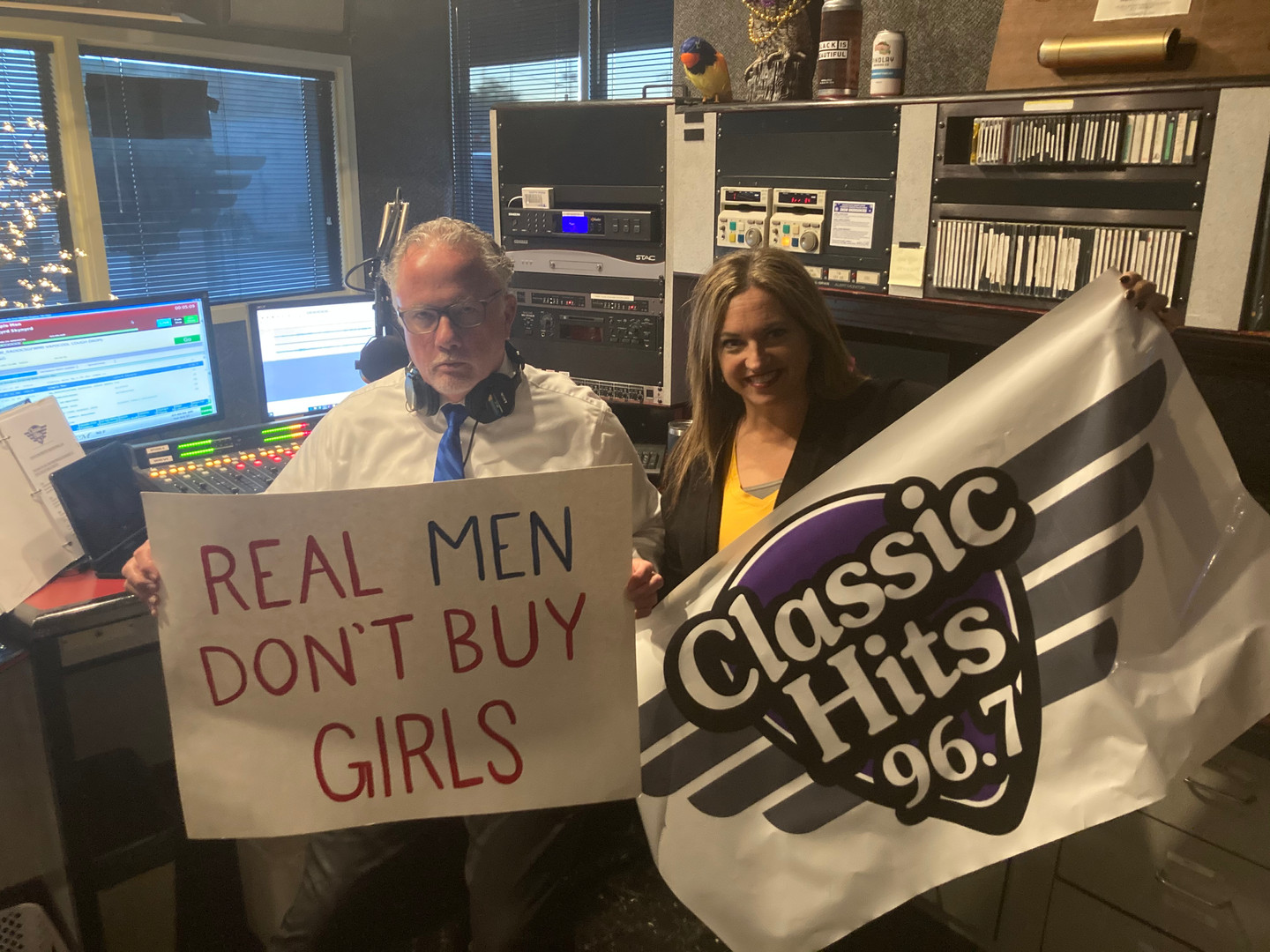 Keith Hodkinson and Dawn Egbert with Classic Hits 96.7 in Fostoria