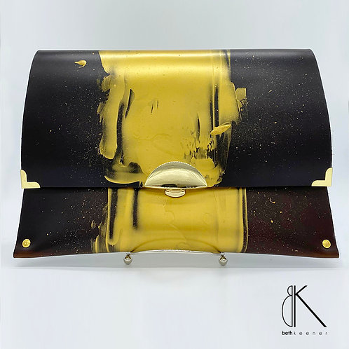 Stay Gold -- Large Leather Clutch