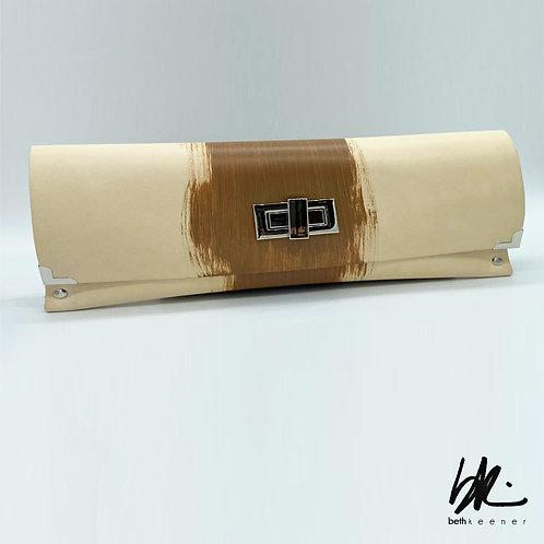 Tan & Silver Leather Clutch
