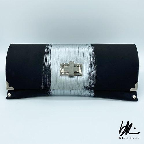 Black & Sliver Leather Clutch