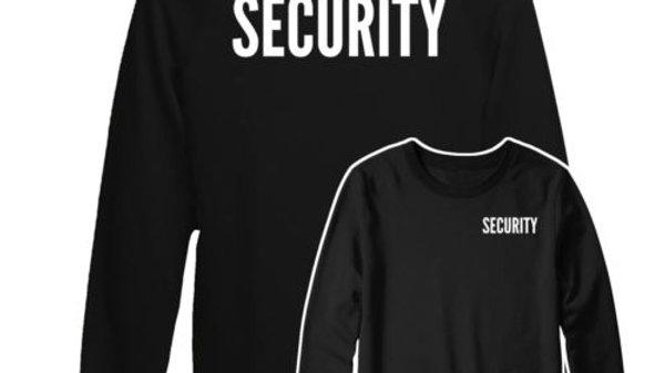 Security Text Jumper, Front & Back Printed Work Wear Gift Jumper Top