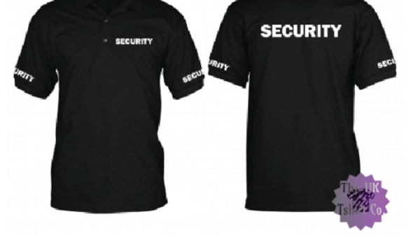 SECURITY POLO SHIRT DOORMAN BODYGUARD SIZES S-5XL PRINTED FRONT/REAR/SLEEVES