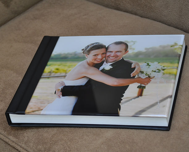acrylic cover flush mount wedding album with black leather spine and back