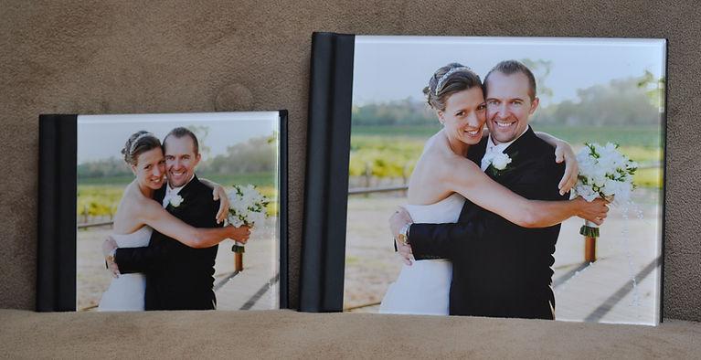 8x10 parent alum next to 11x14 main wedding album