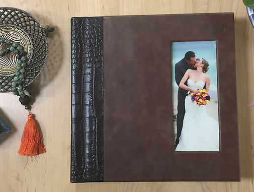 Leather flush mount wedding album with aligator leather spine
