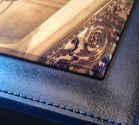 black leather storage box for wedding album with acrylic cover