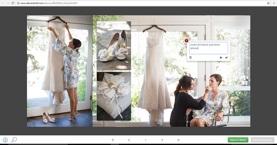 submitting changes to your wedding album design