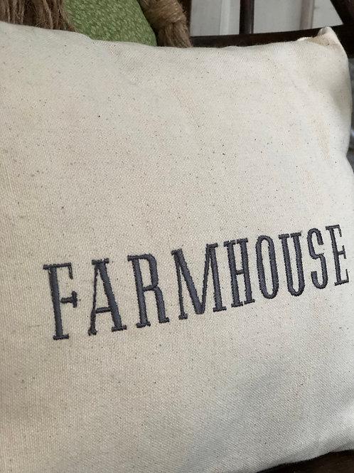 "Embroidered Pillow "" Farmhouse"""