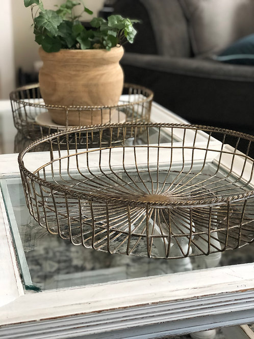 Large Gold Wire Basket Tray