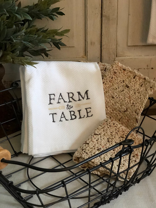 Farm to Table Embroidered HandTowel