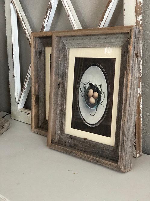 Egg print in barn wood frame