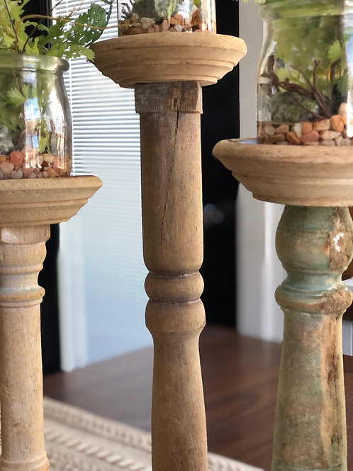 Set of 3 found wood candle holders