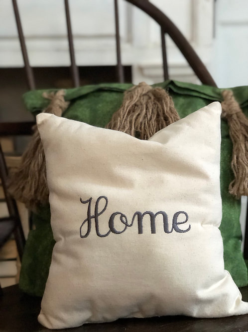 "Embroidered Pillow ""home"""