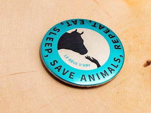 Petit magnet métallique Eat, Sleep, Save Animals, Repeat