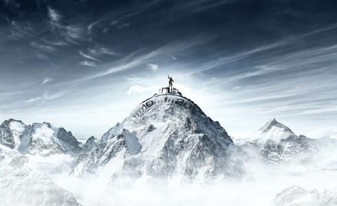 Capital Advertising Invicta Bergbeklimmer op berg
