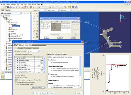 Configuration et résultats de l'optimisation avec ABAQUS et ISIGHT