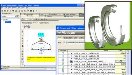 editeur ISIGHT avec la configuration du composant ABAQUS