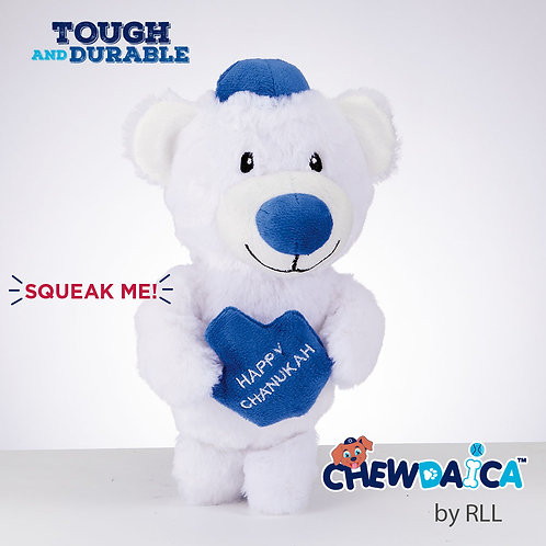 """Chewdaica""™ Chanukah Plush Bear Squeaky Dog Toy"
