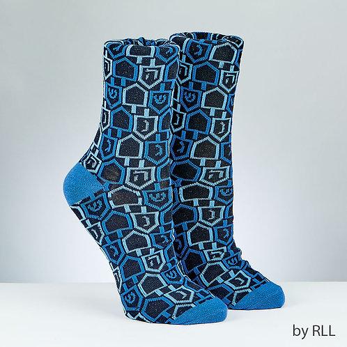 Chanukah Adult Crew Socks, 'Dreidels' Design