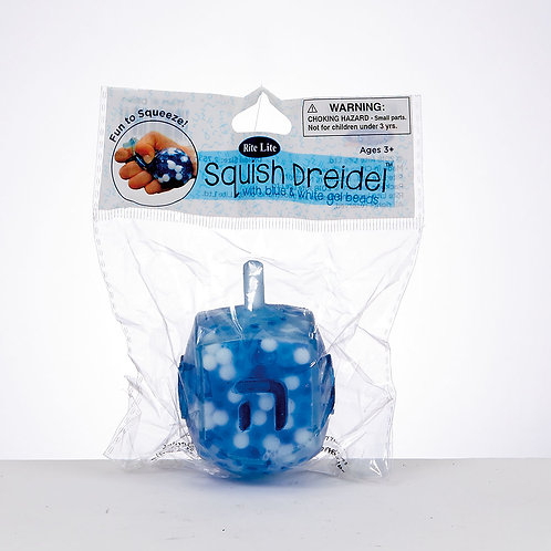 Squish Dreidel™ Filled With Blue And White Gel Beads