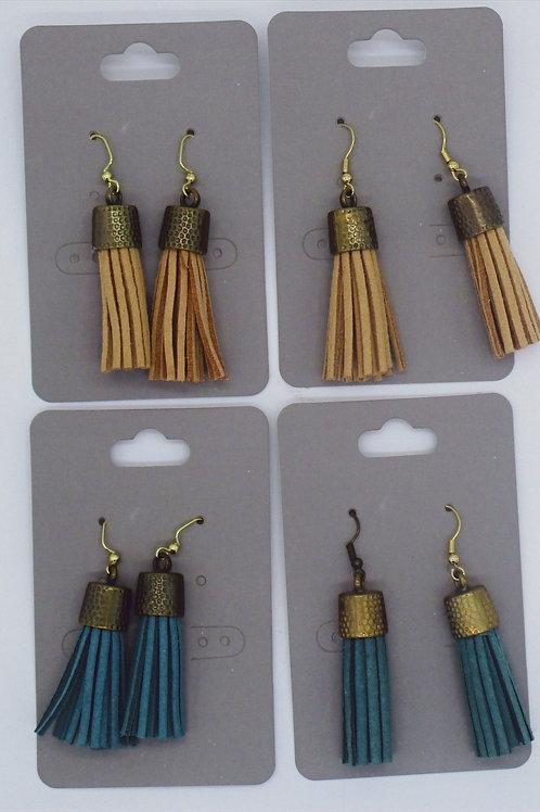 Kat's Kreations Leather Tassel Earings