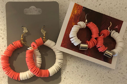 Kat's Kreations Fimo Clay Corral/White Earrings