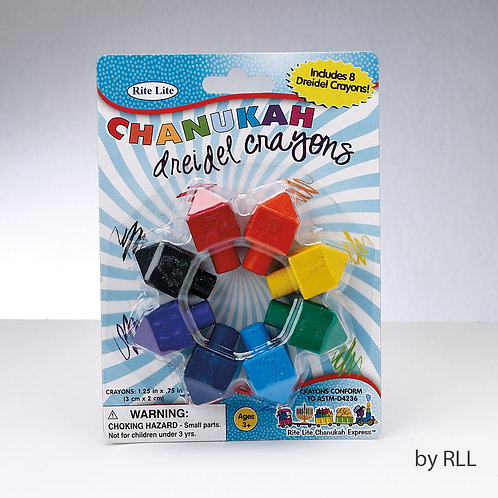 Set of 8 Dreidel Shaped Chanukah Crayons