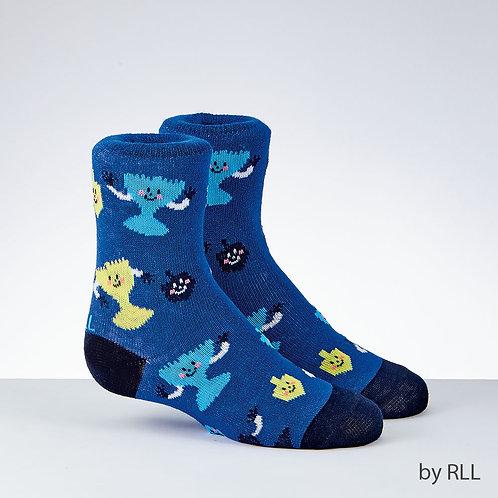 Chanukah Kids Crew Socks, Menorah Design