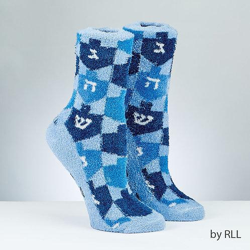 Chanukah Cozy Slipper Socks, Dreidel Design