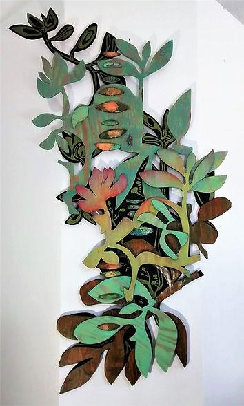 "Sedum Succulent Story by Teresa Bosko 2014 Painted plywood wall sculpture 72""x30"" Big Art 'bout Plants"