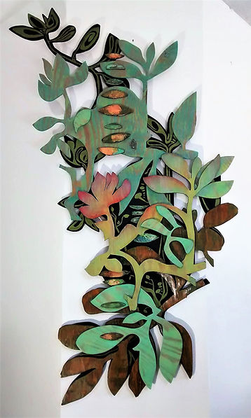 "Sedum Succulent Story by Teresa Bosko 2014 Painted plywood wall sculpture 72""x30"" Big Art 'bout Plants"