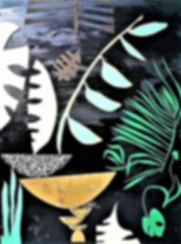 """Nightstalker by Teresa Bosko 2018 plywood panel painting 48""""36"""" big art 'bout plants"""