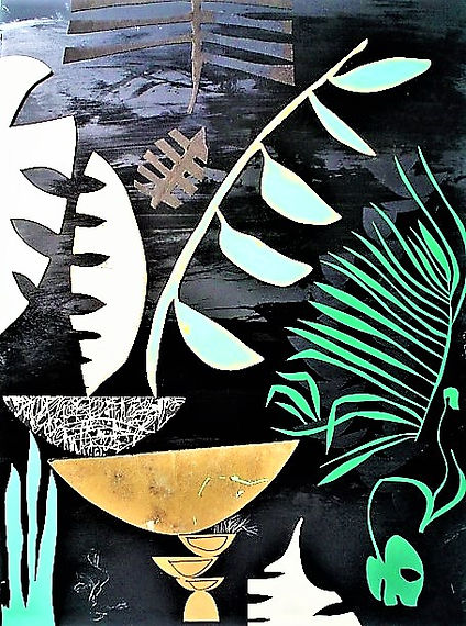 "Nightstalker by Teresa Bosko 2018 plywood panel painting 48""36"" big art 'bout plants"