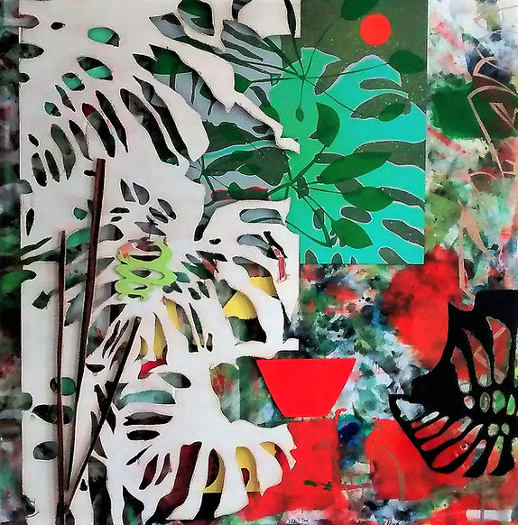 "The Next 10 yrs. by Teresa Bosko 2017 MDF Worktop painting 48""x48"" Big Art 'bout Plants"