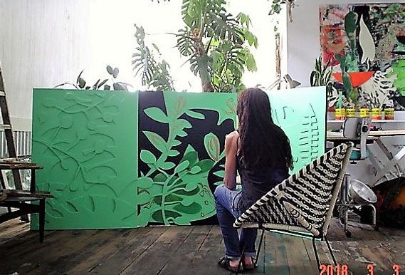 "ArtistTeresa Bosko with Greengala 2018. 48""x102"" Plywood panel painting."