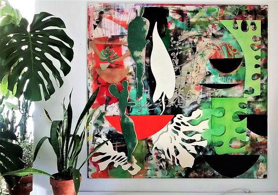 "Aplantiam by Teresa Bosko 2017 MDF Worktop painting 48""x48"" Big Art 'bout Plants"