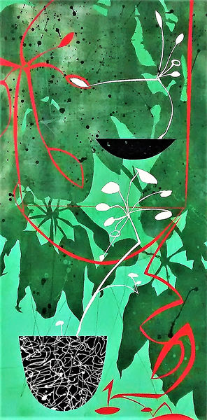 "Green Rain by Teresa Bosko 2017 Plywood panel painting 48""x24"" Big Art 'bout Plants"