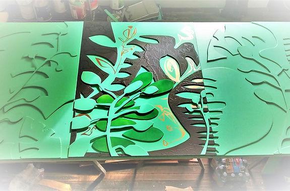 "Greengala by Teresa Bosko 2018 plywood panel painting 48""x108"" triptych Big Art 'bout Plants"