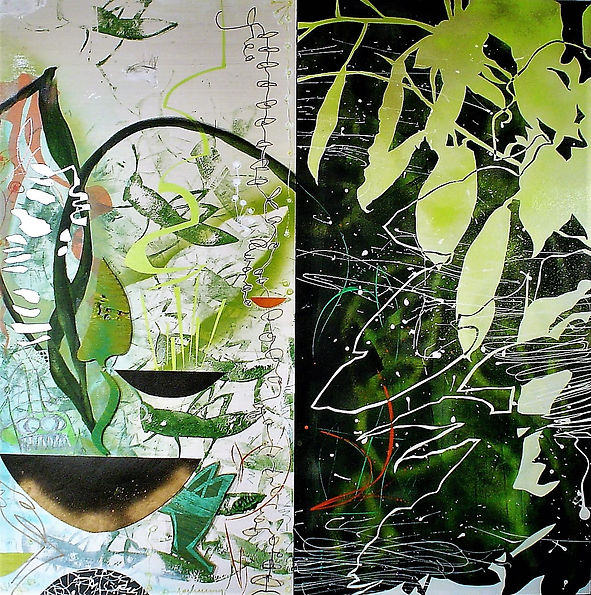 "That Summer by Teresa Bosko 2017 Plywood panel painting 48""x48"" diptych Big Art 'bout Plants"